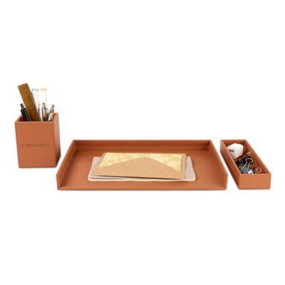 Easton 3 Piece Desktop Organizer Set - Cognac