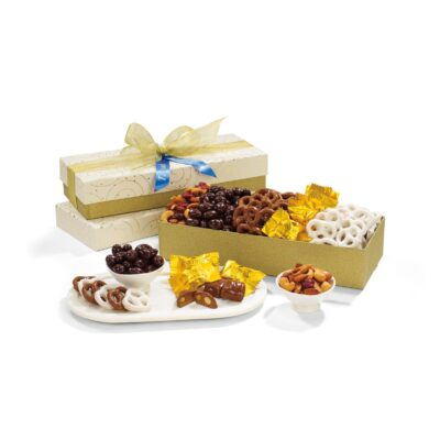 Deluxe Holiday Goodies & Glitz Gift Box - Sparkling White and Gold